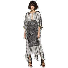 Printed Kaftan Style Dress ($205) ❤ liked on Polyvore featuring maxi kaftan, beach caftan, summer kaftans and beach kaftan