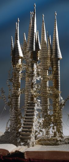 """Castle"" by Su Blackwell  I am inspired by this piece because of the way Su Blackwell has used the pages from the spine and created a very intricate piece over the pages. I like the mystical effect she has created."