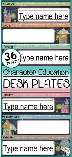 Desk Plates / Name Plates - Character Education & Chalkboard Theme Classroom Desk, Unique Desks, Classroom Management Tips, Desk Name Plates, Make Good Choices, Character Education, Teaching Materials, Social Skills, Chalkboard