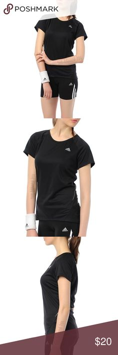 """Adidas SQ CCRUN Climacool Running SS Tee T-Shirt L New Adidas Women's SQ CCRUN Climacool Running Short Sleeve Tee T-Shirt Top in  Black size Large. The SQ CCRUN SS Tee by adidas Performance provides moisture and heat management through its Climacool ventilation. It has a scoop neck, short sleeves, and is made from Formotion, which is engineered to perform for linear running motions. Reflective details allow the wearer to be  visible at night. It measures 26"""" in length and 21"""" across chest…"""