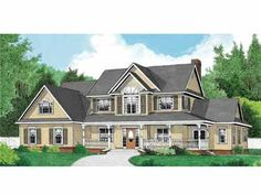 Four Bedroom Country (HWBDO66041) | Country House Plan from BuilderHousePlans.com