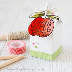 For a quick and easy teacher gift you can't beat cute packaging to really make an impression! I used the Lawn Fawn Milk Carton die along with an Avery Elle apple from their Little Mind's set. Find out more by clicking on the following link: http://limedoodledesign.com/2015/06/quick-and-easy-teacher-gift/ ~ Debby Hughes ~ Lime Doodle Design