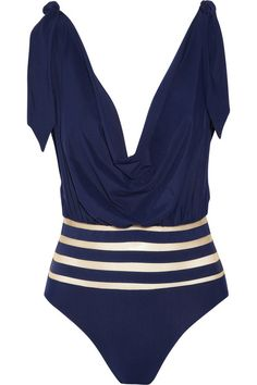 LA PERLA  Draped cowl-neck swimsuit... ♡ing this, although I feel it would show alot off on a bigger busted women?
