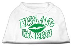 Mirage Pet Products Puppy Dog Clothing Apparel Oufit Costume Kiss Me I'm Irish Screen Print Shirt White Large(14)