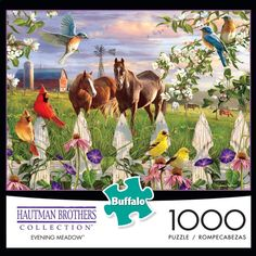 Puzzle Shop, Puzzle Art, Jigsaw Puzzels, Yellow Finch, Sand Collection, Buffalo Games, 100 Piece Puzzles, Colorful Birds, Beautiful Horses