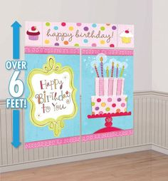 "Sweet Stuff Scene Setter - Party City. ""HB!"" banner on living room wall, ""HB to you"" on dining room wall, cupcakes on glass door, cake on outdoor sofa wall with B-day Direct HB cupcake banner above."