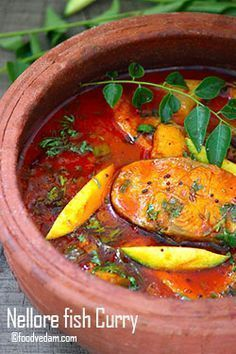 Nellore Fish Curry - How to make Andhra Mango fish Curry - Foodvedam Veg Recipes, Curry Recipes, Seafood Recipes, Cooking Recipes, Healthy Recipes, Cooking Fish, Prawn Recipes, Healthy Meals, Recipies
