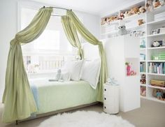 Architect David Mann Remakes a New York Apartment : Architectural Digest, Darcy Miller & Andy Nussbaum; A canopy bed by Anthropologie in a daughter's bedroom is draped with a Pierre Frey cotton; the side table is by Kartell. Girls Bedroom, Bedroom Decor, Budget Bedroom, Master Bedrooms, Dream Bedroom, Master Bath, Bedroom Ideas, Diy Canopy, Canopy Beds