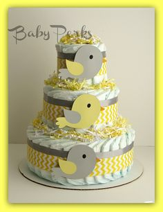 Yellow and Grey Diaper cake  , Bird Diaper Cake, Baby Shower Decorations. $49.00, via Etsy.