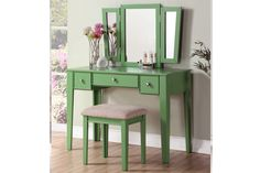 3 pc apple green finish wood make up bedroom vanity set tri fold mirror. This set comes with the Vanity table with multiple drawers, Tri fold Mirror and the vanity stool. Mirrored Vanity Table, Makeup Table Vanity, Vanity Set With Mirror, Vanity Stool, Makeup Stool, Makeup Tables, Vanity Tables, Makeup Desk, Wood Vanity
