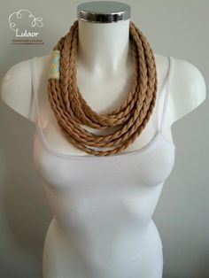 T-shirt scarf t-shirt necklace braided scarf fabric by Lulaor