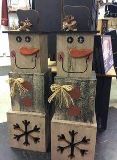 Cute stackable wood block snowman