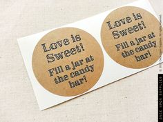 love is sweet candy buffet labels
