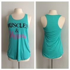 "Muscles and Mascara tank top Muscles/ blue   S: L: 27"" B: 32"" M: L: 28"" B: 34"" L: L: 29""  B: 36"" Rayon/ spandex/ polyester combination. Very lightweight and EXTREMELY stretchy! Semi sheer. Shirt in photos is size M. Availability: S•M•L • 1•2•2 Price is firm unless bundled. No trades Boutique Tops Tank Tops"
