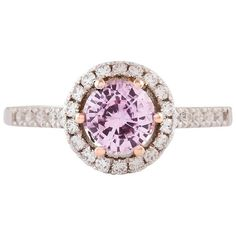 Kian Design Two-tone Pink Sapphire Diamond Halo Ring (€3.640) ❤ liked on Polyvore featuring jewelry, rings, cocktail rings, pink, pink cocktail ring, two tone rings, facet jewelry, 2 tone ring and pink ring