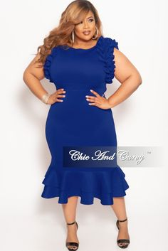 62809b464cc Plus Size Sleeveless Ruffle Scuba BodyCon Dress in Royal Blue – Chic And  Curvy