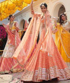 Indian Bride Dancing on Her Wedding Wearing Beautiful Lehenga Choli by Abhinav Mishra Bridal Collection 2019 Lehnga Dress, Bridal Lehenga Choli, Red Lehenga, Bollywood Lehenga, Sabyasachi, Lehenga Style, Indian Attire, Indian Wear, Indian Style