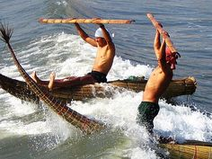 Coastal culture / Present day Caballitos de Totora (little reed horses) fishermen in Huanchaco, La Libertad - Peru.