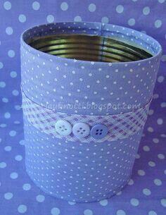 Tin can Mais Aluminum Can Crafts, Tin Can Crafts, Fun Crafts, Diy And Crafts, Arts And Crafts, Paper Crafts, Recycle Cans, Diy Cans, Recycled Tin Cans