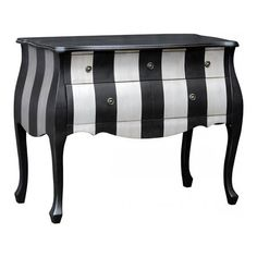 ACHICA | Parallels Black and Silver Chest of Drawers