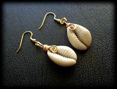 Cowrie Shell Dangle Earrings  Boho Jewelry by KheperaAdornments