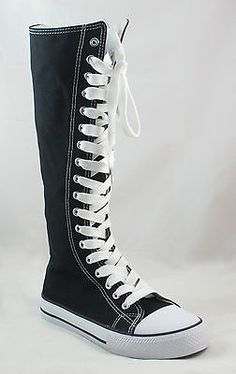 6dc7e847bfbd30 Ladies Knee High Top Punk Lace Canvas Boot Tennis Shoe Sneaker Black Runs  Small