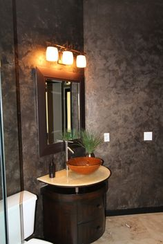 Metallic Paint Wall Finish with Modern Masters | Bath Project by Max Monarch Meridian Studios | Design by Morrone Interiors