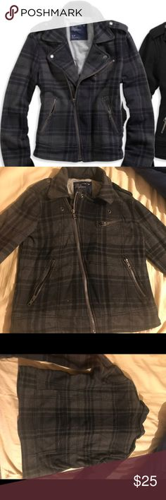 American Eagle Plaid Cotton Moro Jacket Cute soft AE Moto jacket in licorice print. Size small. Good condition. American Eagle Outfitters Jackets & Coats