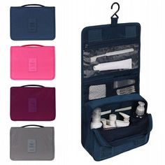 The ideal travel essential, pack everything you'll need to freshen up while traveling while still easily fitting in your carry-on bag with this toiletry bag, this Hanging Toiletry Kit is perfect to ke