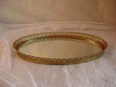 Vtg Hollywood Regency Gold tone Ornate Oval 8 by 12 Vanity Tray Wall Mirror S221