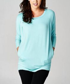 Look at this Teal Long-Sleeve Pocket Top on #zulily today!