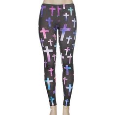 Black Cross Leggings ($44) ❤ liked on Polyvore featuring pants, leggings, bottoms, tights & leggings and legging pants