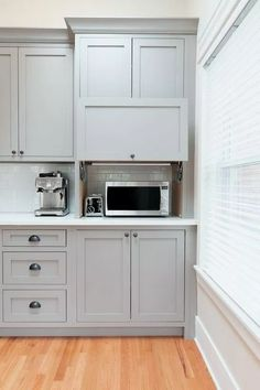 Appliance garage with flip-up door. Shaker style kitchen cabinets in Benjamin Mo… Appliance garage w Shaker Style Kitchens, Kitchen Cabinet Storage, Clever Kitchen Storage, Small Kitchen Storage, Kitchen Cabinet Styles, Kitchen Remodel Small, Shaker Style Kitchen Cabinets, Kitchen Renovation, Kitchen Design