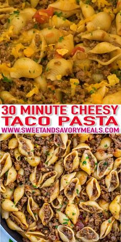Taco Pasta makes for a cheesy and meaty dinner option that is easy to prepare! pasta videos The BEST Taco Pasta [video] - Sweet and Savory Meals Best Pasta Recipes, Crockpot Recipes, Cooking Recipes, Yummy Recipes, Keto Recipes, Instant Pot Dinner Recipes, Best Dinner Recipes, Summer Recipes For Dinner, Dinner Ideas