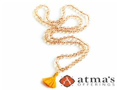 Physically and mentally energizing, Citrine helps awaken the mind by increasing mental clarity. #malabeads http://atmasofferings.com/product/citrine-mala/