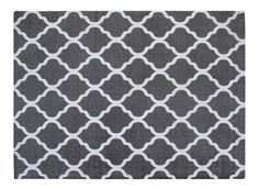Cotton Printed Grey and White Quatrefoil Geometric Rug