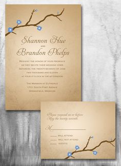 Rustic Chic Tree Wedding Invitation (Reserved for Maria Senger). $262.50, via Etsy.
