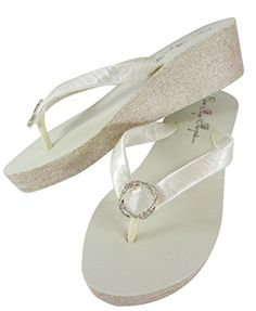 Infinity Circle Champagne and Ivory Glitter Wedge Flip Flops for the Wedding Bride Bling Ladies 6 Ivory 2 inchChampagne Glitter *** See this great product.