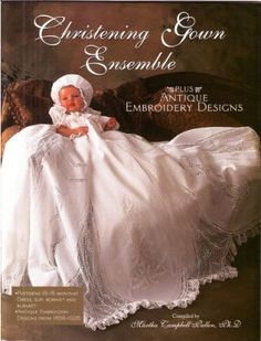 Linen baby christening gown sewing pattern with antique embroidery