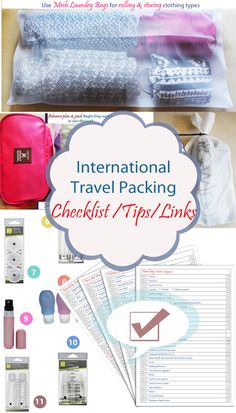 Travel Organized with a Checklist, Tips and more (Packing checklist) (Vacation Checklist) (Travelers List) Travel Packing Checklist, Vacation Checklist, Travel Organization, Organizing, Mesh Laundry Bags, Fear Of Flying, Good To Know, Things To Think About, Free