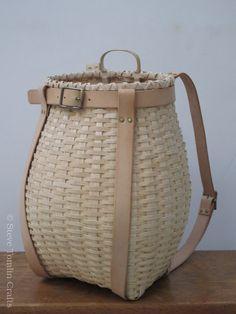 Ash Splint Baskets | Steve Tomlin Crafts Basket Weave Crochet, Basket Weaving, Green Woodworking, Small Wood Projects, Birch Bark, Straw Bag, Ash, Arts And Crafts, Baskets