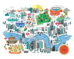 Petros Afshar is a well rounded talented Illustrator from London, England, who works primarily in vector. Map Design, Travel Design, London Map, Travel Illustration, River Thames, Sketch Painting, City Maps, Travel Maps, Travel Themes