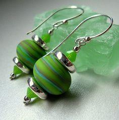 Limey Green Lampwork Beaded Earrings