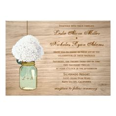 Country Farm Barn Rustic Wedding Announcement Invitation Mason Jar Hydrangea Floral Flowers  #wedding #invitation #hydrangea #masonjar