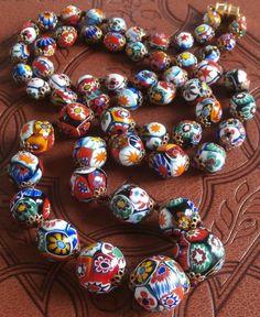 Art Deco Millefiori Venetian Murano Moretti Glass Bead Necklace by StarliteVintageGems ~ SOLD