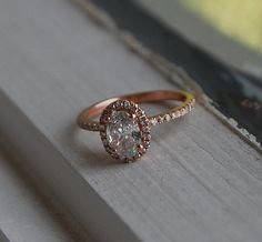 0.7ct White Oval Diamond  D/VS2 14k rose gold ring engagement ring diamond ring