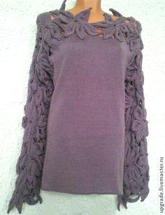 Авторская туника `Dusty Lilac`. Новое изделие в  экспериментальной технике вязания. Нежная шелковистая туника цвета 'пыльной сирени' специально для романтичных натур.