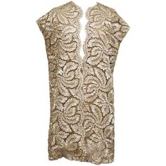 Gold Lace And Lame Couture Gillet, c. Brown Evening Dresses, 1920s Evening Dress, Designer Evening Dresses, Long Evening Gowns, Floral Print Gowns, Gold Lace, Metallic Lace, Pink Party Dresses, Long Sleeve Gown