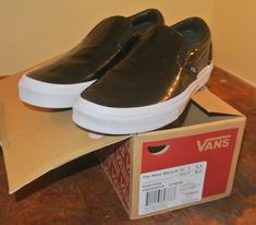 NIB Vans Old Skool Black Patent Leather White Sole Loafer Men 6.5 Wm 8  133056202   7b4c87269