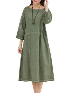 Casual Women Pure Color Hollow Out Splicing Vintage Maxi Dress